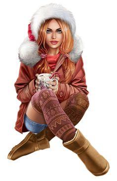 Fantasy Art Women, Beautiful Fantasy Art, Fantasy Girl, Santa Claus Girls, Baby Girl Drawing, Sarra Art, Comic Art Girls, Digital Art Gallery, Silhouette Clip Art
