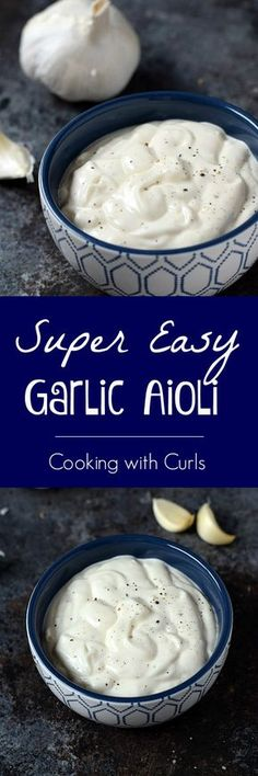 Super Easy Garlic Aioli is ready in minutes and crazy delicious… Dip Recipes, Sauce Recipes, Cooking Recipes, Sweet Recipes, Dips, Marinade Sauce, Homemade Sauce, Chutneys, Vinaigrette