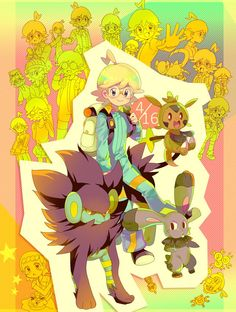Clemont and all of his Pokémon ^.^ <3 Kudos to whoever made this fan art