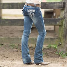 Grace in LA Cowgirl Journey Jean- Get these Grace in LA Cowgirl Journey jean with eye catching blue and gold detailed pockets