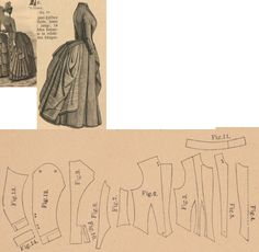 Der Bazar 1886: Summer walking dress from grey etamine fabric with bordure; 3. bodice's lining front part, 4. plastron in half size, 5. lapel, 6. bodice's front over part, 7. and 8. side gores, 9. back part, 10. peplum, 11. collar, 12. and 13. sleeve parts, 14. cuff in half size