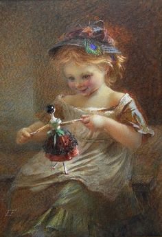vintage art girl with doll