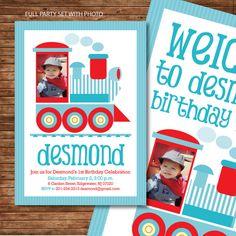 Choo Choo Train Birthday Party DIY Printable PHOTO Customized Full party set - Invitation and Deco- match with Thomas the train - baby blue. $35.00, via Etsy.