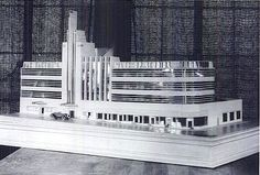 The Max Factor building on Highland Avenue just south of Hollywood Boulevard is one of the few original buildings from the 1930s that remains as impressive in design now as it was back then. It now houses the Hollywood Museum. But it wasn't Max Factor's original plan. This model shows us the much larger structure that he originally had in mind. Presumably financial constraints forced him to rethink and scale down.