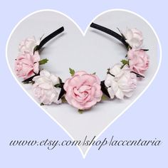 Custom tea rose black spiked headband by AccentAria on Etsy