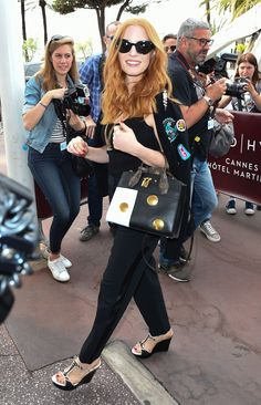 Jessica Chastain Street Fashion -Leaving Martinez Hotel in Cannes