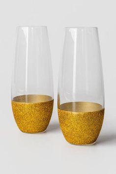 Gold Glitter Champagne Glasses $24.00