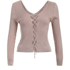 Ribbed Deep V Neck Jumper ($21) ❤ liked on Polyvore featuring tops, sweaters, jumpers sweaters, brown sweater, deep v neck top, low v neck sweater and jumper top