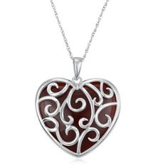 $19.99 - Red Onyx Heart Pendant in Sterling Silver