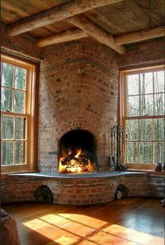 Tour A Real Storybook Cottage - love the interior fireplace., Tour A Real Storybook Cottage - love the interior fireplace. Tour A Real Storybook Cottage - love the interior fireplace. Tour A Real Storybook Cottag. Home Fireplace, Fireplace Design, Fireplace Ideas, Cottage Fireplace, Corner Fireplaces, Fireplace Furniture, Brick Cottage, Rustic Fireplaces, Rustic Cottage