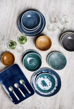 A vivid navy blue dinner plate. Our vintage collection of rustic ceramic tableware is hand crafted by local Turkish artisans. Each plate is shaped and painted by hand, which results in a truly special