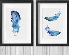 Feather Art Print Set 2 Blue Home Decor Watercolor Painting Minimalist Illustration Modern Tribal Art Navy Feathers Artwork Gift Idea