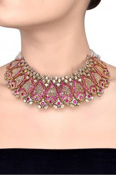 Silver Gold Plated Pearl Crystal Pink Pear Paisley Necklace