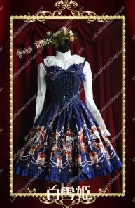 Sweet Cotten Snow White Print Knot Infanta Lolita Dress