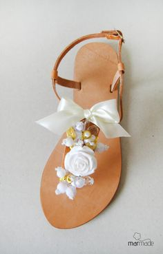 Handmade Leather Sandals with White Beads and Ribbons by MyMarmade, €43.00