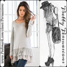 COMING SOON IN GRAY NWT Gray Long Sleeve Double Ruffle Lace Trim Tunic  ** Please do not purchase this listing. I will make you a personal listing if you'd like to purchase **  Available in sizes: S, M, L Measurements available upon request    Features:  • soft material  • double ruffled lace trim bottom hemline  • long sleeves • has stretch  Bundle discounts available  No pp or trades Pretty Persuasions Tops
