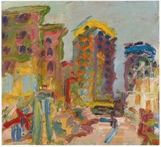 Frank Auerbach (British, b. 1931), Mornington Crescent Looking South II, 1997. Oil on board, 20 x 22 in.