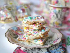 White Chocolate Rainbow Sprinkle Toffee