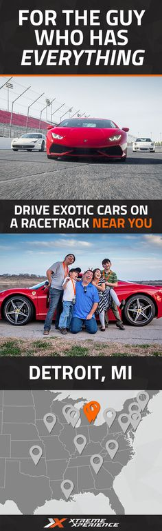 Give the perfect gift that they'll never forget! Driving a Ferrari, Lamborghini, or other exotic sports car on a racetrack is a unique gift idea that is guaranteed to leave a smile on his face, a good story to tell and a life-long memory. Xtreme Xperience brings the thrill of a lifetime to you at M1 Concourse, just 45 minutes from downtown Detroit, August 5-7, 2016 ONLY. Reserve your Supercar Xperience today for as low as $219. Space is limited!