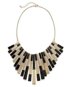 Bar III Necklace, Gold Tone Black Spray Statement Necklace