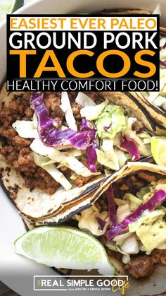 If you've got some ground pork on hand, and you're wondering what to do with it…make these ground pork tacos! They're so easy to make with a simple homemade taco seasoning and topped with a mayo-free slaw. Just some basic ingredients are all you need to make a big batch of ground pork tacos. And you can even use a pre-made coleslaw mix to save time and energy as well. | @realsimplegood #paleodinnerrecipes #mexicanpaleorecipes #paleodiet #paleobegginer Homemade Spice Blends, Homemade Spices, Homemade Taco Seasoning, Pork Recipes, Paleo Recipes, Whole Food Recipes, Easy Recipes, Paleo Tacos, Healthy Tacos