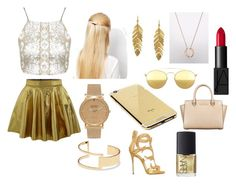 """GOLD"" by tryn11 ❤ liked on Polyvore featuring Topshop, Orelia, Kenneth Jay Lane, Shore Projects, Sole Society, Giuseppe Zanotti, Goldgenie, Mykita, MICHAEL Michael Kors and NARS Cosmetics"