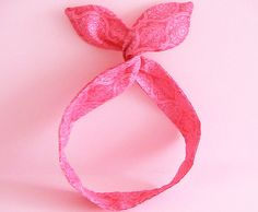 Dolly Bow Headwrap-Red Damask Pattern by JooSweetie on Etsy (Accessories, Hair Accessories, Headbands, dolly bow, head wrap, wire headband, bunny ear headband)