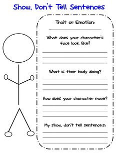 Free Show Don't Tell Graphic Organizer for writing about characters