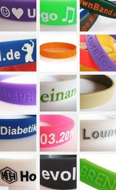 viele tolle bunte Farben. Deine Texte Deine Logos Alles möglich bei ownBand.de #ownBand #Armband #DIY
