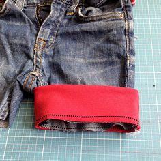 Jeans Recycling Tutorial Bündchen annähen | lillesol & pelle Schnittmuster, Ebooks, Nähen