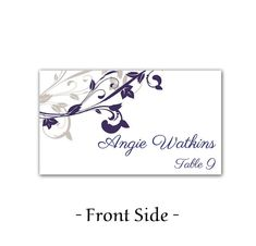 Whimsical Vines Wedding Place Cards Microsoft Word Template | Blue Silver Winter Elegance | Downloadable Wedding Table Cards | Place Setting by PaintTheDayDesigns on Etsy, $7.75