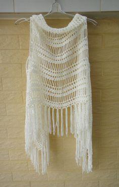 Crochet Fringe Vest Summer Beach Cover Up by Tinacrochetstudio