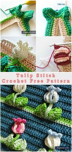 Tulip #crochet  Stitch - perfect for the blanket, as decorating, try it, easy with tutortial