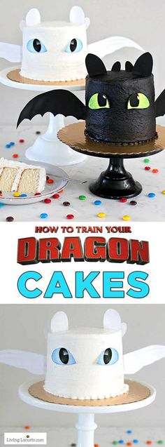 How to Train Your Dragon White Cake Easy How To Train Your Dragon Cake Tutorial! Fluffy white cake recipe for a Night Fury or Light Fury dragon cake. A perfect birthday party cake! See How To Train Your Dragon: The Hidden World in theaters February Dragon Birthday Cakes, Dragon Birthday Parties, Dragon Party, Cool Birthday Cakes, Birthday Cupcakes, Birthday Kids, Dragons Cake, Toothless Cake, Toothless Party