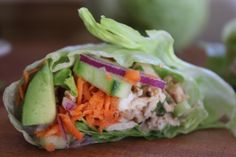 Leftover Turkey Lettuce Wraps with Sesame Ginger Dressing by SEA SALT. A light recipe for the day after Thanksgiving!