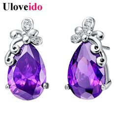 Find More Stud Earrings Information about Silver Plated Fashion Earrings for Women Wedding Accessories Cubic Zirconia Earings Jewelry Bijouterie New Year Gifts Aneis R170,High Quality earrings glitter,China earrings logo Suppliers, Cheap earring holder from Uloveido Official Store on Aliexpress.com