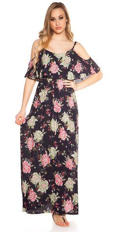 80078017c593 Dámské letní dlouhé šaty na ramínka s barevným květovaným potiskem