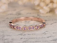 Amethyst Wedding Bands Half Eternity Bands Bezel Engagement Ring  Milgrain Wedding Band Art Deco Diamond Wedding Ring in 14k Rose Gold