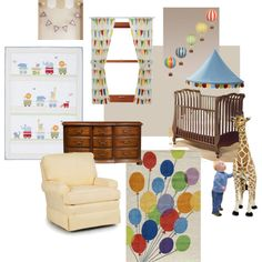 Circus Nursery mood board... love the balloon painting. great way to have balloons in the nursery without having a choking hazard