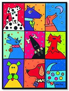 Dog Patch Pop Art by Susan Kline Art Print - Lombn Sites Arts And Crafts Projects, Projects For Kids, Painting For Kids, Art For Kids, Lapin Art, Dog Quilts, Pintura Country, Dog Paintings, Whimsical Art