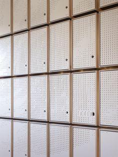 Image 15 of 18 from gallery of NOMA Lab / GXN (Innovation Unit of Photograph by Adam Mørk Staff Lockers, Office Lockers, Locker Designs, Bar Designs, Mail Room, Gym Interior, Interior Design, Gym Room, Interior Minimalista