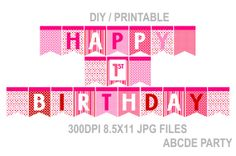 Instant Download Happy 1st Birthday Banner Polka Dots DIY Printable (PDMD001)