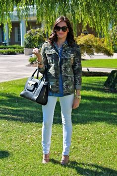 Wake Up Your Wardrobe What I Wore: White Rebel Camo Jacket, White Jeans, Chambray Shirt, Rockstud Heels, Phillip Lim for Target