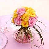 (BDx20) Table Centerpiece Romantic Pink and Yellow Roses 6 Centerpieces [Include Flower Food]