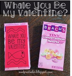 Whale You Be My Valentine - digital download tag for candy