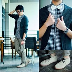 Angel Tacbad - Fred Perry Gingham Button Down Shirt, Zara Marengo Ribbed Cardigan, Gola Guard Stone Suede, Topman Stone Skinny Chinos, White Bowtie - Shades of Black and White