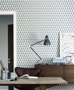 The wallpaper Trapez - 2739 from Boråstapeter is wallpaper with the dimensions m x m. The wallpaper Trapez - 2739 belongs to the popular wallpaper col Office Workspace, Office Decor, Home Office, Office Ideas, Office Designs, Study Office, Interior Architecture, Interior Design, Luxury Interior