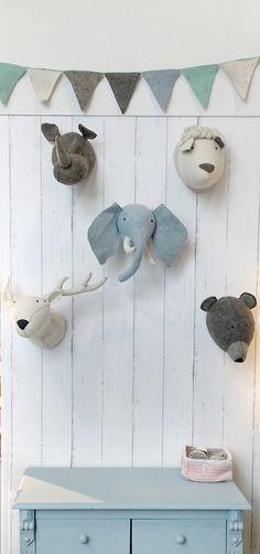 Kidsdepot dierenkop vilt olifant blauw