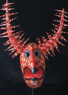 Lechone mask Santiago, Dominican Republic 24 inches, painted papier mache