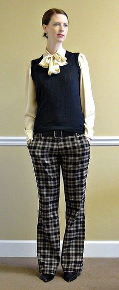 Sweater vest and bow are not me.....but would love to rock these pants.